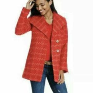 Cabi #3031 Sloan Red Pink Tweed Peacoat Jacket MED